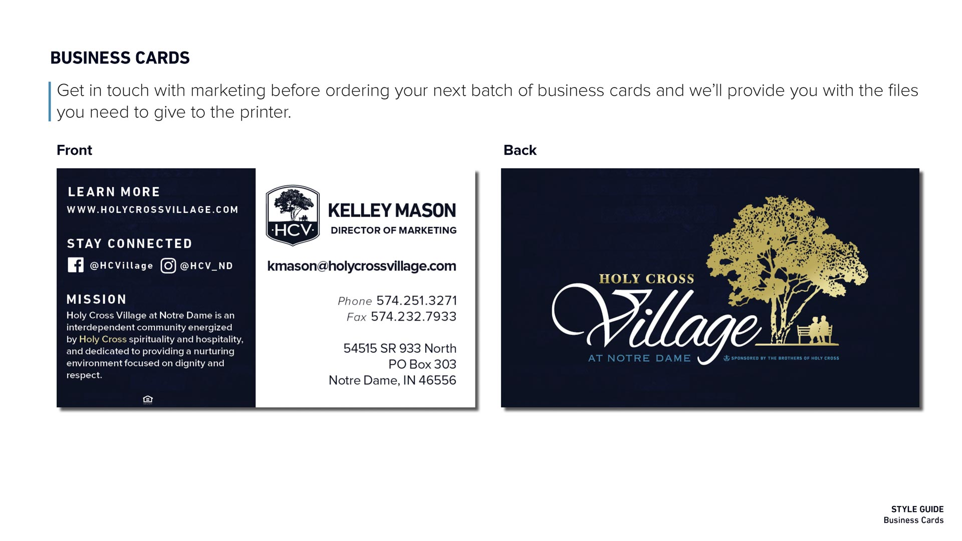 Holy Cross Village's Business Card