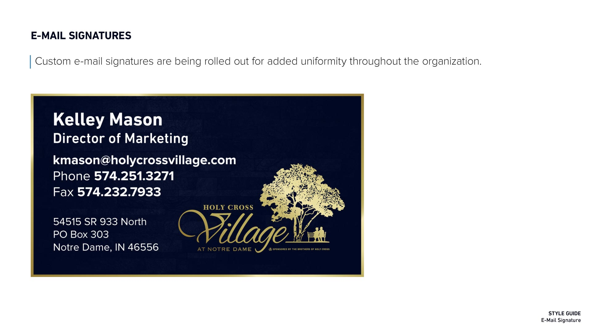 Holy Cross Village's Email Signature