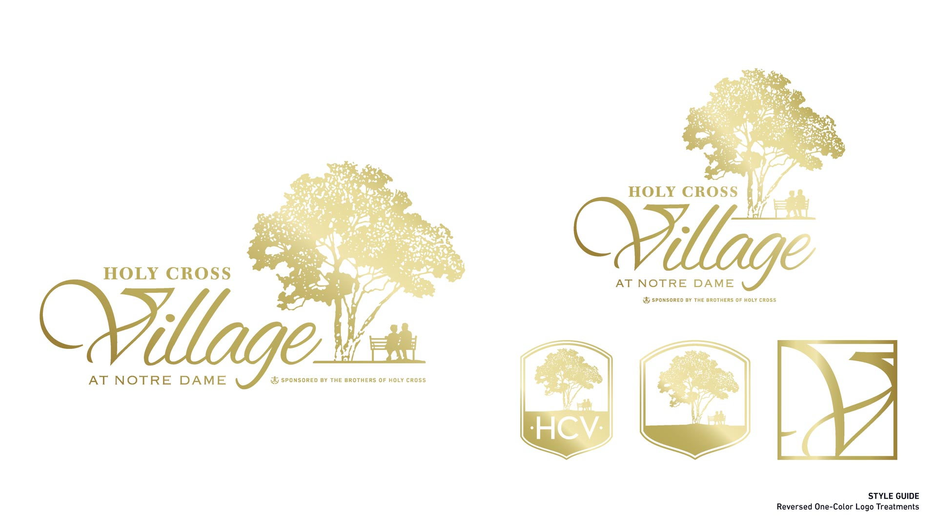 Holy Cross Village's Reversed One Color Logo Treatments