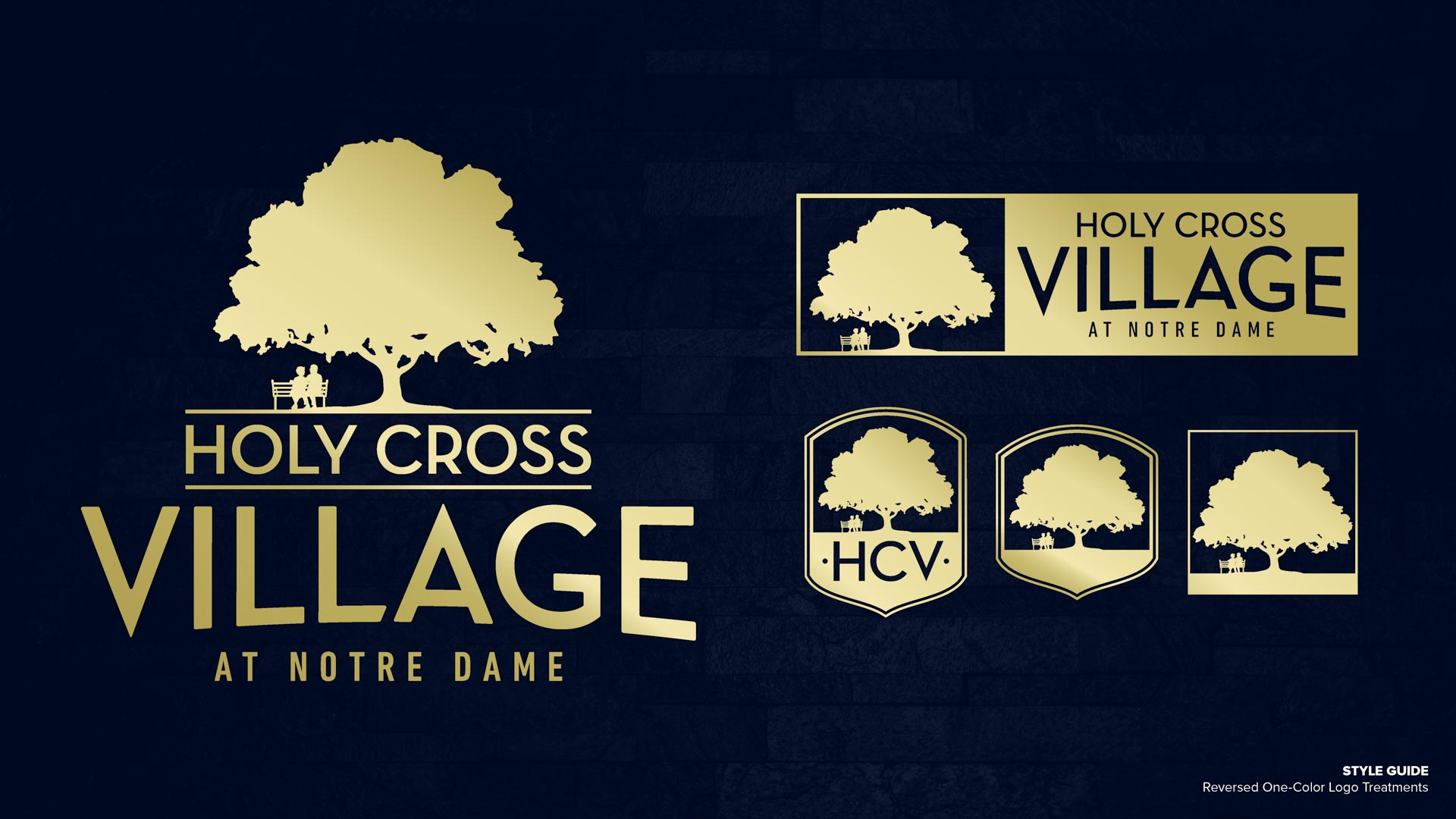 Holy Cross Village's Reversed One-Color Logo Treatments